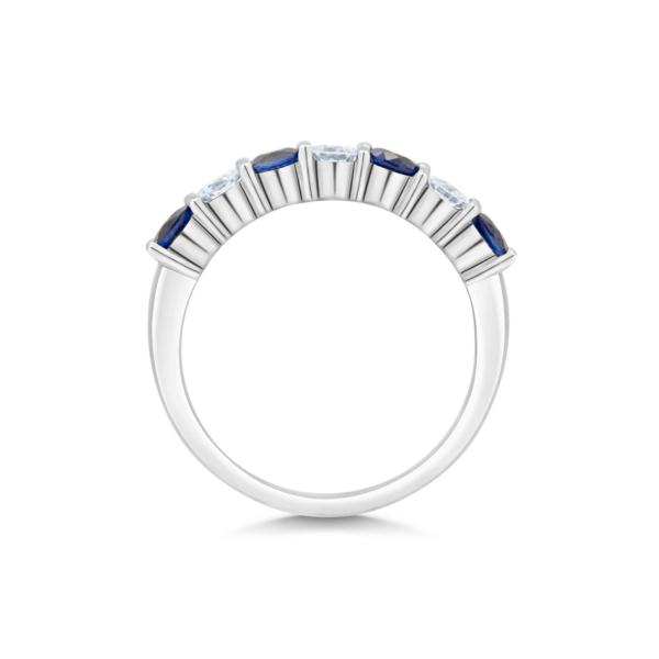 Fau Round Cut Diamond & Blue Sapphire Seven Stone Claw Set Eternity Ring
