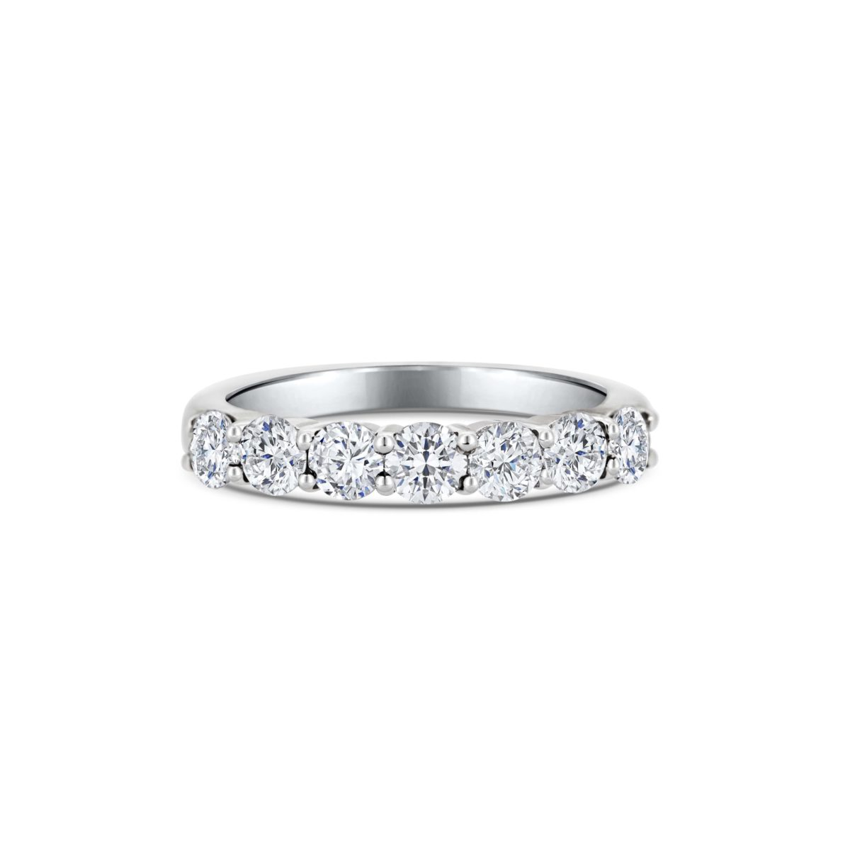 Fau Round Cut Diamond Seven Stone Claw Set Eternity Ring Front View