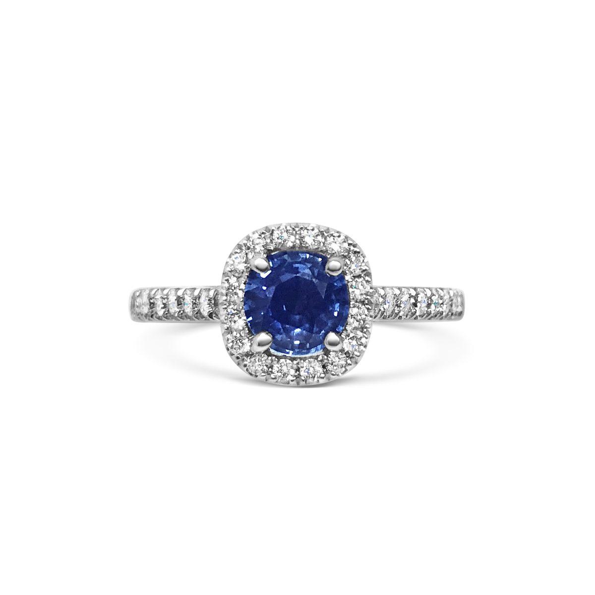Heidi Cushion Cut Blue Sapphire Halo Microset Engagement Ring Front View