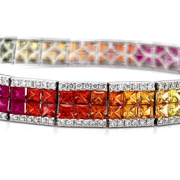 Avia Multi Coloured Sapphire Tennis Bracelet 2