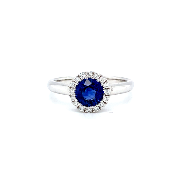 Kerri Round Cut Blue Sapphire Halo Engagement Ring