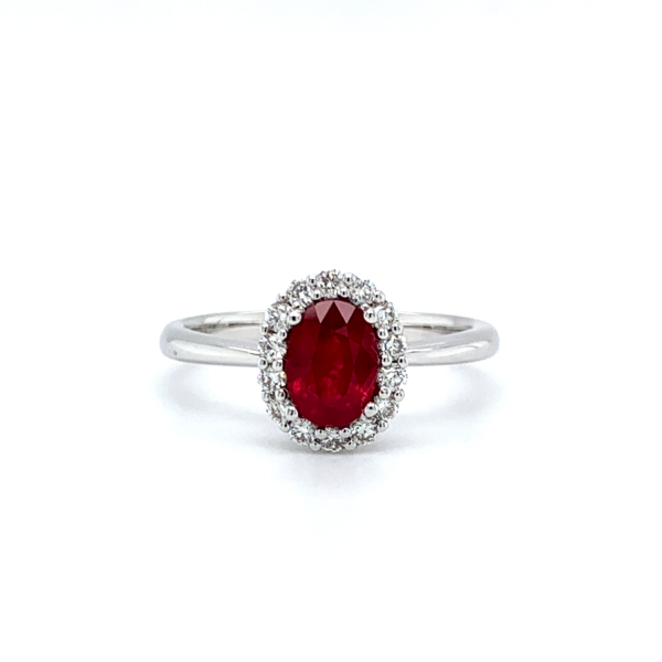 Rikki Oval Cut Ruby Halo Engagement Ring