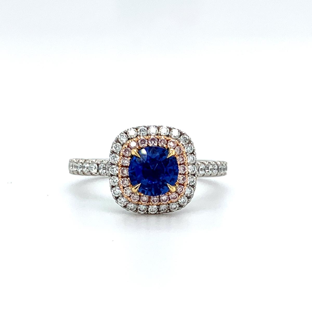 Winnie Round Cut Blue Sapphire Diamond Double Halo Engagement Ring