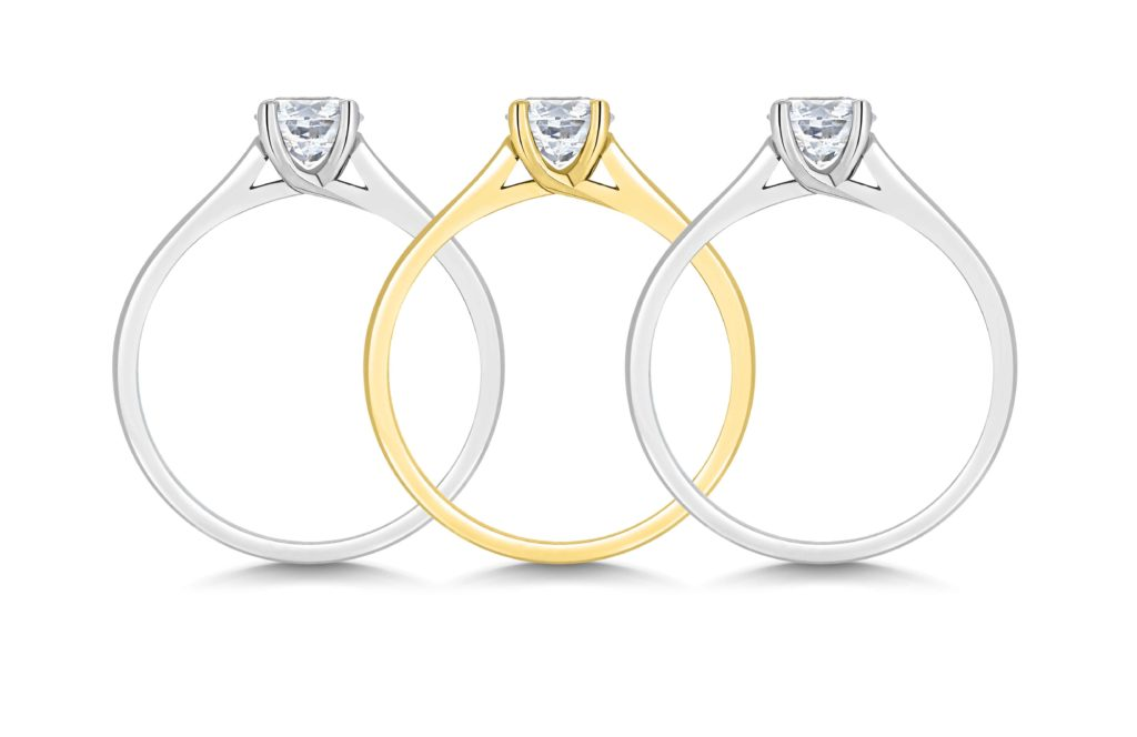 White gold, yellow gold and platinum engagement rings